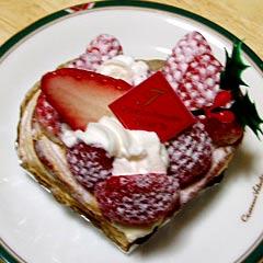 ハート型の莓パイ