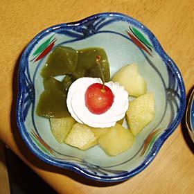 煮リンゴと抹茶羊羹