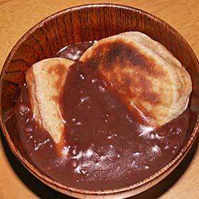 柿の切り餅でお汁粉